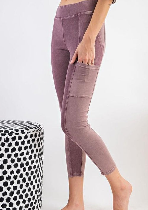 Mineral Washed Leggings-Faded Plum - romp Collection
