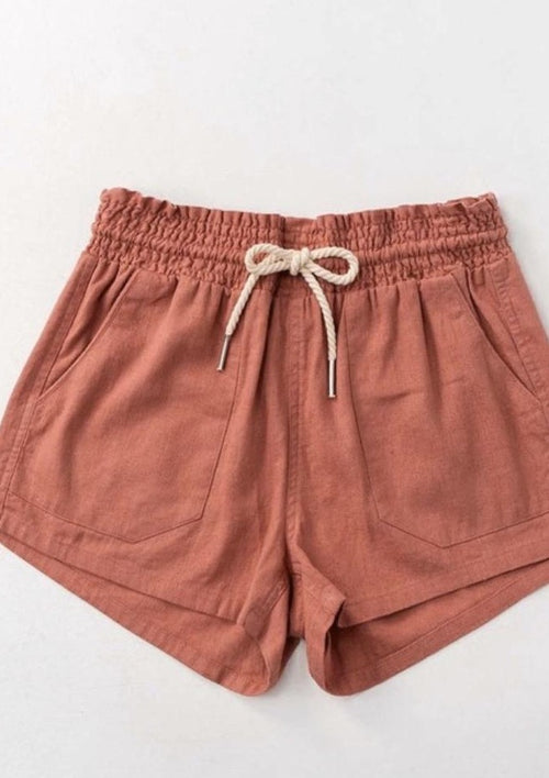 Rope Em' Drawstring Linen Shorts - romp Collection