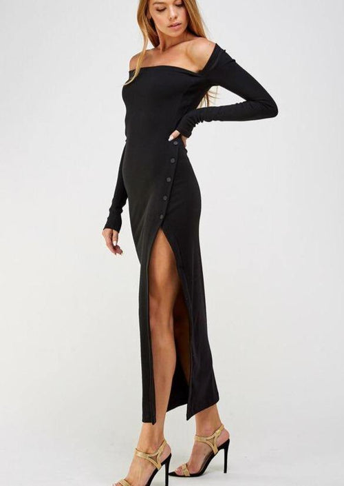 Lights Out Asymmetrical Long Sleeve Dress - romp Collection