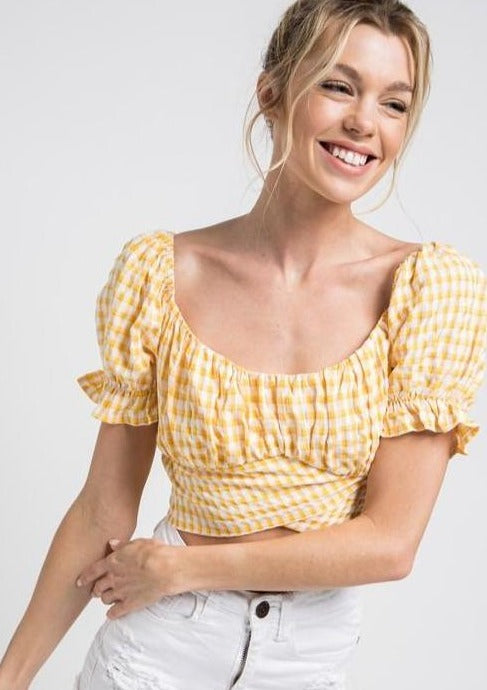 Checkered Sunshine Crop Top - romp Collection