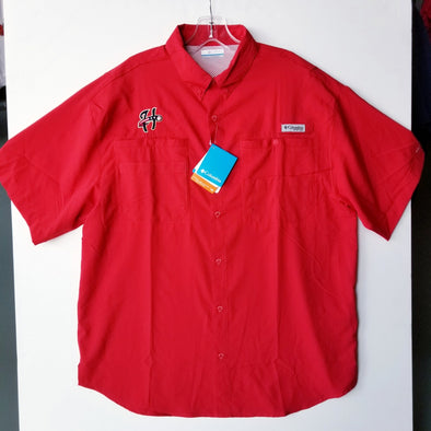 Columbia Tamiami Button Front Short Sleeve Shirt - Red