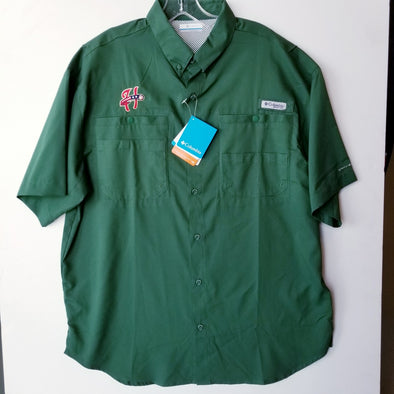 Columbia Tamiami Button Front Short Sleeve Shirt - Forest Green