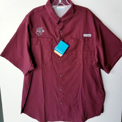 Columbia Tamiami Button Front Short Sleeve Shirt - Maroon