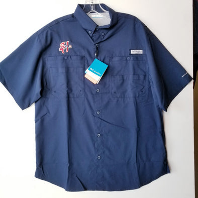 Columbia Tamiami Button Front Short Sleeve Shirt - Navy