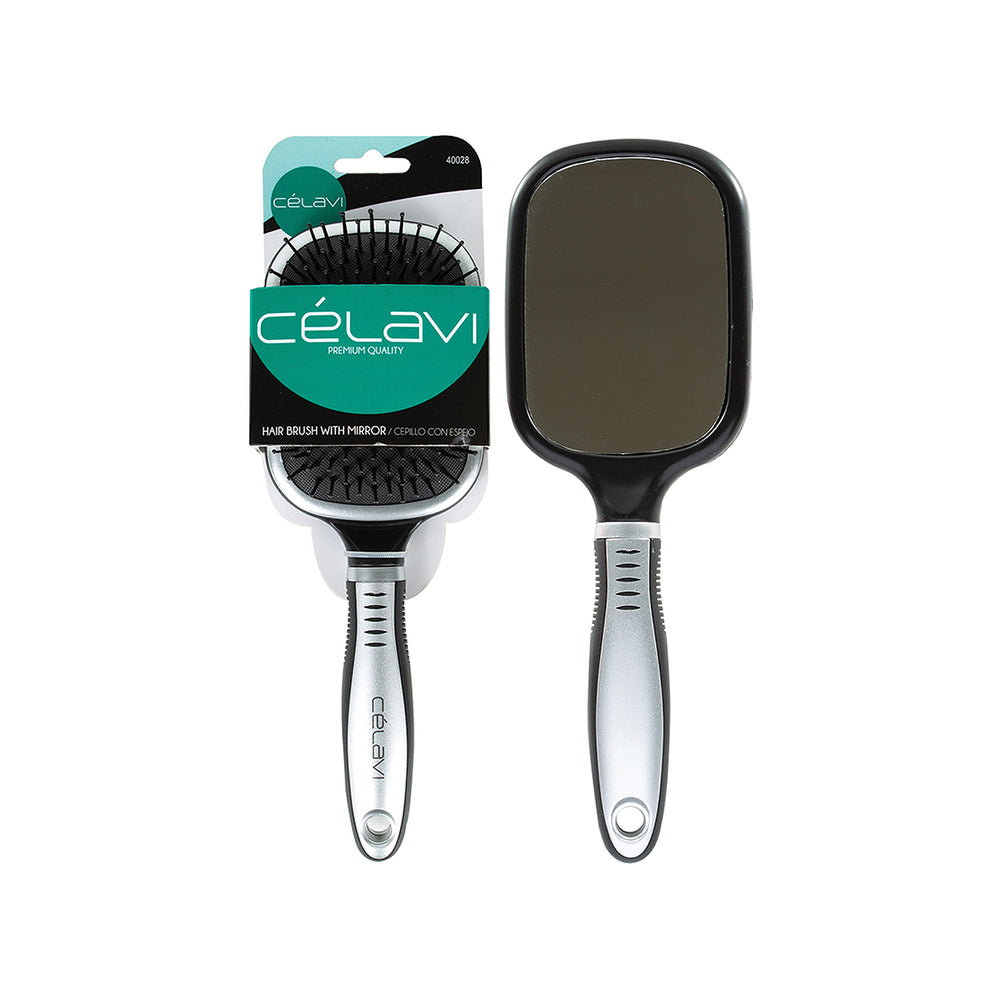 Celavi Paddle Cushion Brush with Mirror