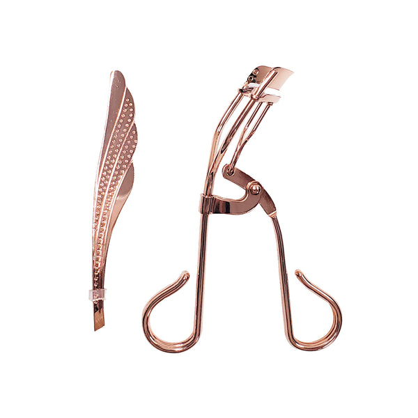 Celavi Rose Gold Eyelash Curler & Tweezer Duo