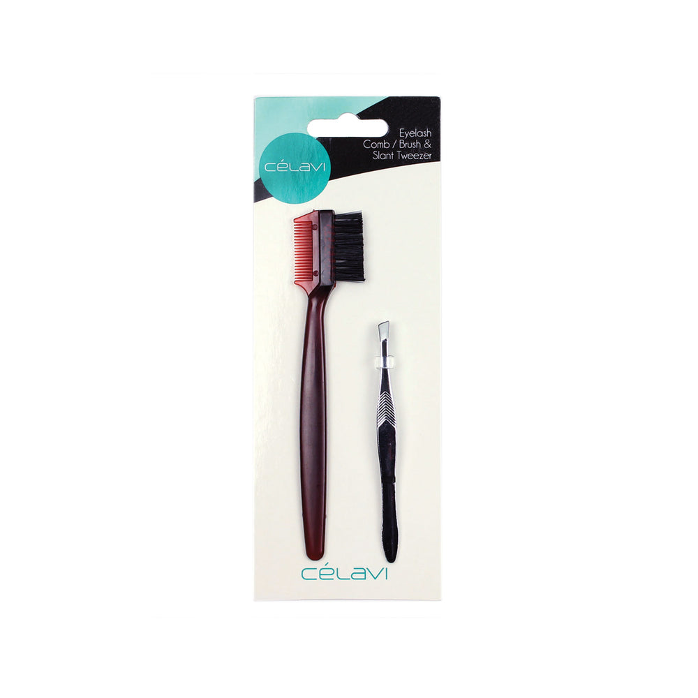 Load image into Gallery viewer, Celavi 2PC Eyelash Comb with Brush & Tweezer Set