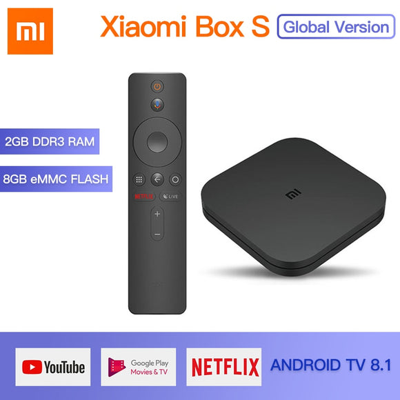 Original Global Xiaomi Mi TV Box S 4K HDR Android 8.1 2G 8G WIFI Google Cast Netflix IPTV Set top Box 4 Media Player