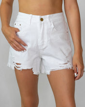 Load image into Gallery viewer, Distressed White Shorts