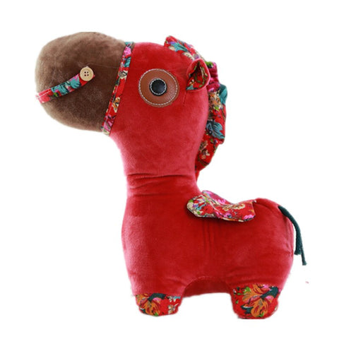 Peluche Cheval <br/> Rouge Bordeaux