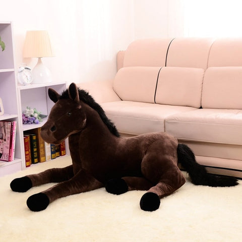 Peluche cheval marron couché 60 cm