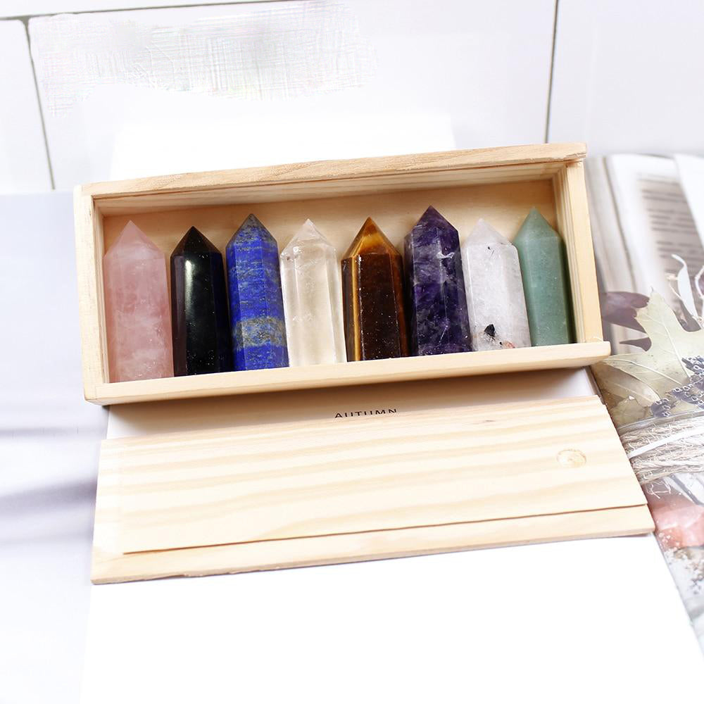 Wooden box Decorative Natural Hand Carved Crystal Pillar Points