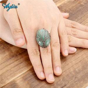 Tree of life Copper & Natural Stone Crystal Adjustable Ring