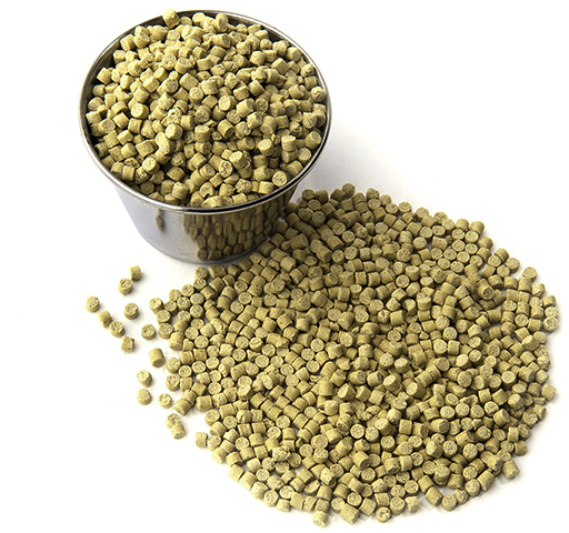 a cup of Harison's premium bird pellets, in fine variety