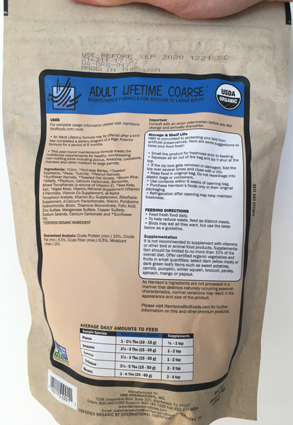 back of the small blue bag with instructions - Harrison's Adult Lifetime Coarse premium pellets for parrots, suitable for larger birds