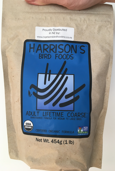 front of the small blue one pound bag of Harrison's Adult Lifetime Coarse premium pellets for parrots, suitable for larger birds