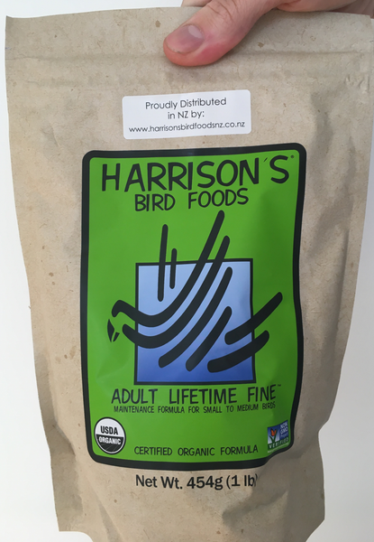 front of the green bag of Harrison's Adult Lifetime Fine premium pellets for parrots, suitable for smaller birds