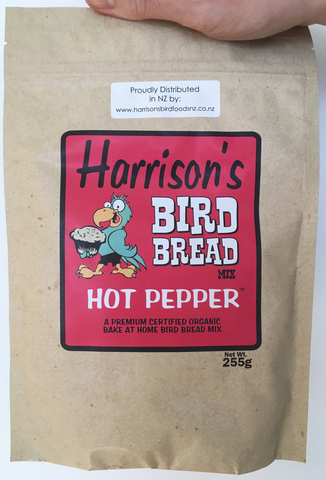 front of the red bag of Harrison's Bake at home bird bread mix in hot pepper variety