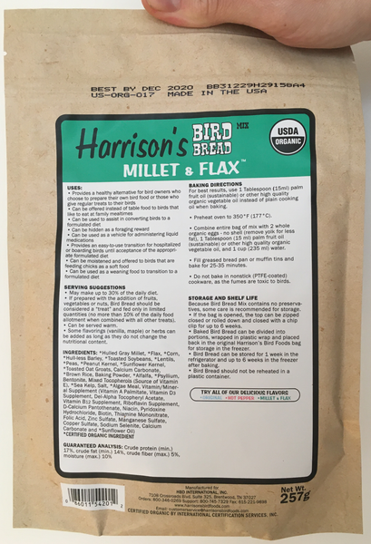 back of the green bag of Harrison's Bake at home bird bread mix in Millet and Flax variety, with baking instructions