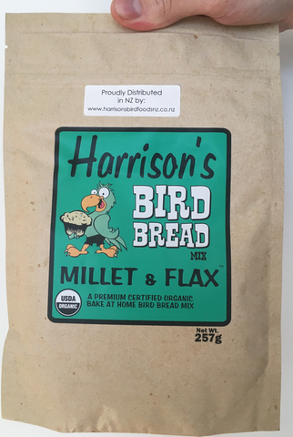 front of the green bag of Harrison's Bake at home bird bread mix in Millet and Flax variety