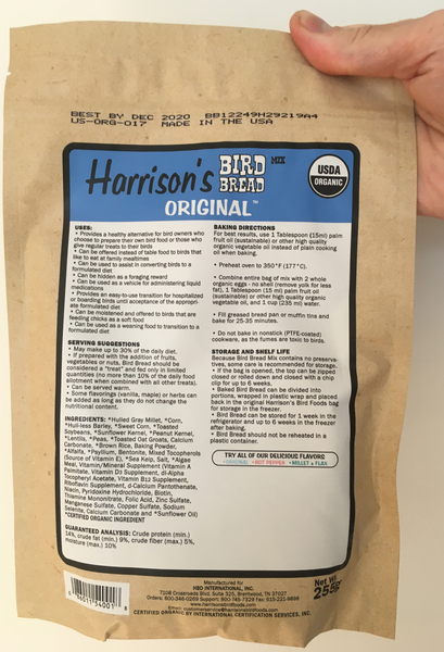 front of the blue bag of Harrison's Bake at home bird bread mix in the original variety, with baking instructions