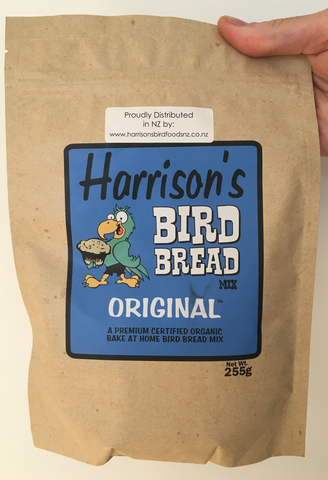 front of the blue bag of Harrison's Bake at home bird bread mix in the Original variety