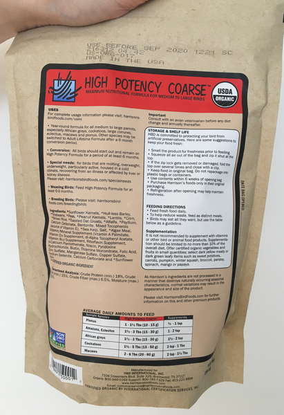 back of the small red bag of Harrison's High Potency Coarse premium pellets for parrots, suitable for larger birds with higher nutritional needs, with feeding instructions