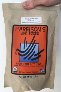 front of the small orange bag of Harrison's High Potency Fine premium pellets for parrots, suitable for smaller birds with higher nutritional needs