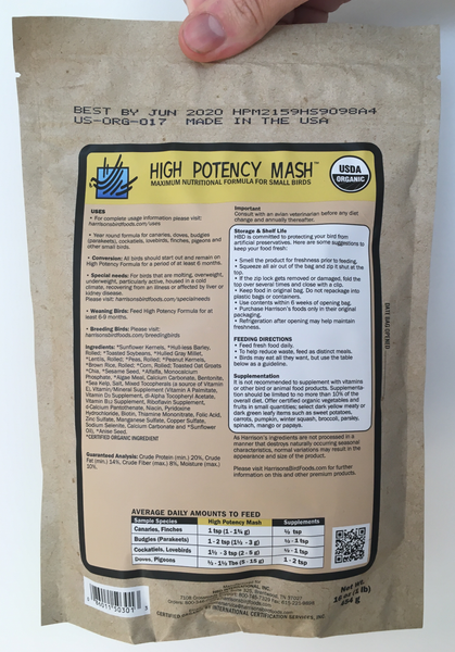 back of the small yellow bag of Harrison's High Potency Mash premium feed for small parrots, and doves, with higher nutritional needs, with feeding instructions