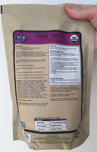 back of the small purple bag of Harrison's Power Treats, with feeding instructions