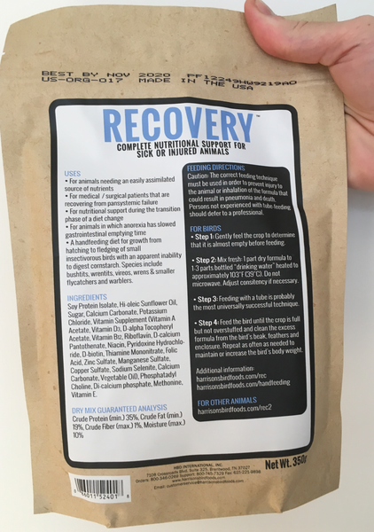 back of the bag of Harrison's Recovery, a hand feeding formula used by vets to nurse sick or injured small animals, including birds, reptiles, and kittens; with usage instructions