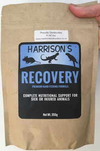 front of the bag of Harrison's Recovery, a hand feeding formula used by vets to nurse sick or injured small animals, including birds, reptiles, and kittens