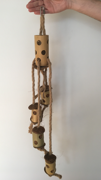 overall view to the totem tower parrot toy - jute rope, wooden blocks, and coconut pieces