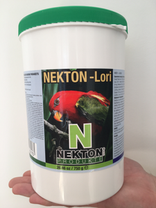 large nekton-lori jar with a red lorikeet and green lid
