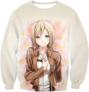 Attack on Titan Beautiful Soldier Krista Lenz White Hoodie