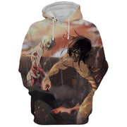 Attack Titan and Female Titan Wall Battle Hoodie - Attack On Titan AOT Hoodie