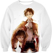 Full Metal Alchemist Hoodie - Attack on Titan Captain Levi X Eren Yeager Cool Anime Promo White Hoodie