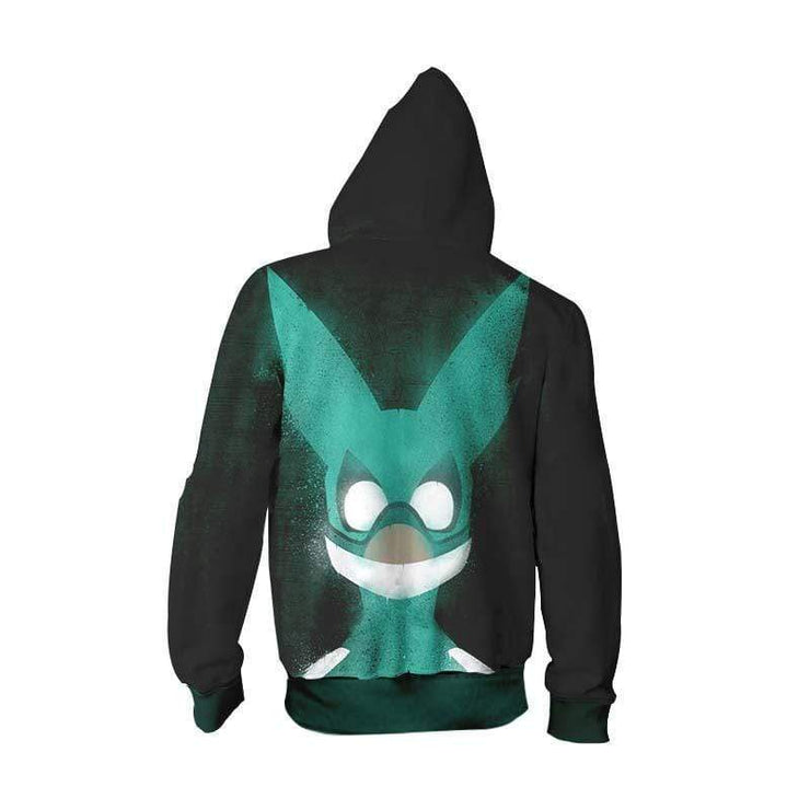 Izuku Midoriya Deku Hero Zip Up Hoodie - My Hero Academia Merch Zip Up Hoodie Jacket
