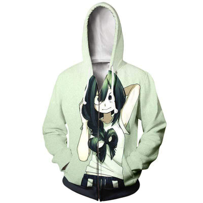 My Hero Academia Zip Up Hoodie Jacket Unisex - Froppy Tsuyu Asui Canvas Hoodie