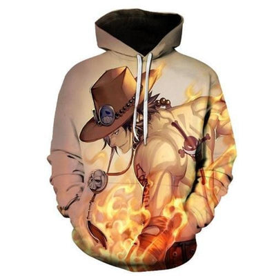 One Piece  Firefist Ace 3d Hoodie - One Piece 3D Graphic Hoodie