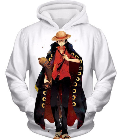 One Piece Future Pirate King Straw Hat Luffy Cool White Hoodie