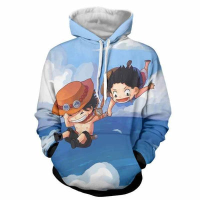 One Piece Hoodie - Chibi Monkey D. Luffy and Ace 3D Hoodie