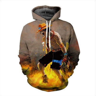 One Piece Hoodie -  Powerful D. Ace Art  Anime One Piece Graphic 3D Hoodie