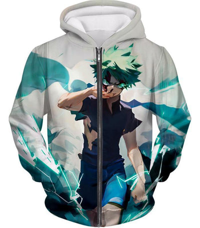 Tokyo Ghoul Zip Up Hoodie - My Hero Academia Izuki Midoriya Incredible Hero Action White Zip Up Hoodie