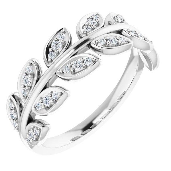 Wide Diamond Leaf Band - Lab-Created or Natural Diamond Options - Evergreen Jewelry