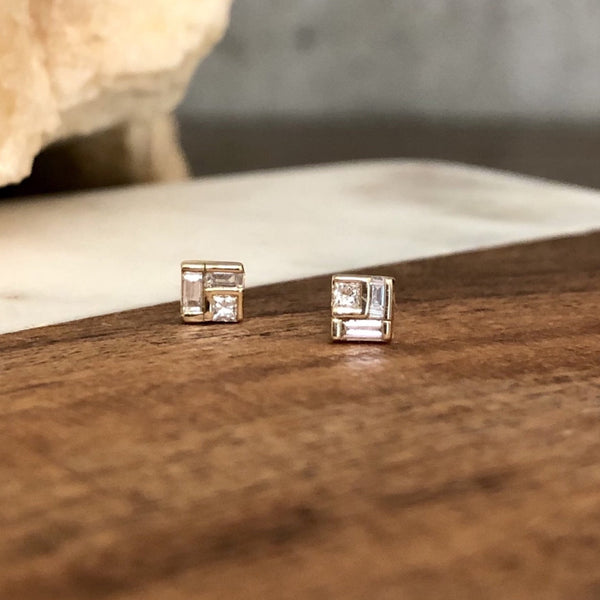Geometric Square Diamond Earrings - Evergreen Jewelry