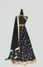 Load image into Gallery viewer, Embellished Lehenga Set in Black and Gold