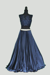 Satin Flared Skirt with Crystal Belt