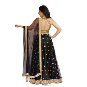 Embellished Lehenga Set in Black and Gold