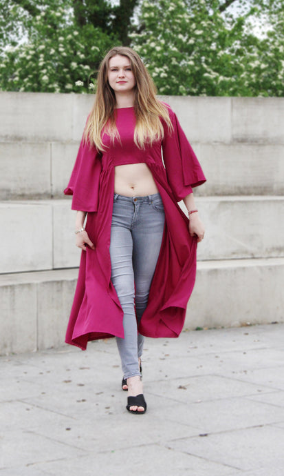 Classic maroon solid woven maxi crop top with flared sleeves